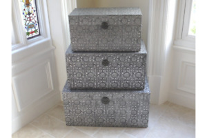 Embossed Set 3 Trunk/chest ottoman Blanket Box storage Coffee Table Black/Silver