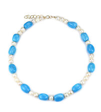 """17""""-19"""" Adjustable blue turquoise nugget & fresh water pearl necklace NKL340017"""