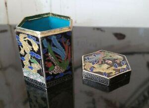 Small Cloisonne Hexagon Box Yellow Phoenix Dragons Trinket Pill Clouds Oriental