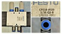 FESTO CPE18-M1H-5/3E-QS-8  170255 Solenoid Valve Tested Good