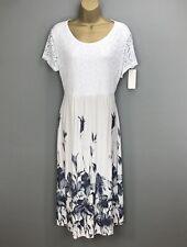 Italian Midi Dress White Lace Ladies New Lagenlook Summer Holiday UK Size 14 16