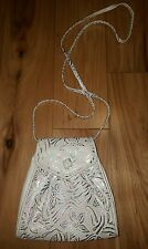 Vtg Saks Fifth Avenue Italian Leather Shoulder Bag white metallic floral Italy