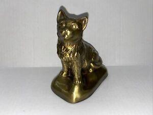 """Vintage 1974 BANTHRICO Brass Cat Bank Chicago 5""""x6"""""""