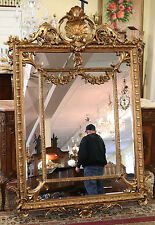 Monumental Heavy Carved Rococo French Baroque Gilded Gold Leaf Mirror 72 x 45
