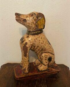 """Vintage Primitive Folk Art Hand Carved Painted Wood Dog Statue Sculpture - 13"""""""