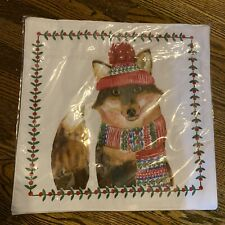 Sealed Christmas Fox Placemats Set of 4 cotton blend festive NWT - Free Shipping