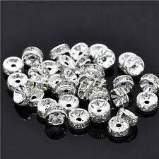 Wholesale 100Pcs Crystal Silver Plated Rondelle Spacer Beads 8mm