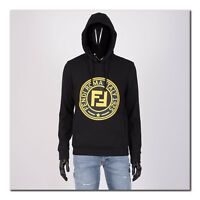 FENDI 920$ Authentic New Black Cotton Blend Hoodie With Logo Patch