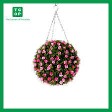 Artificial Pink Rose Hanging Topiary Ball 30cm UV Stabilised