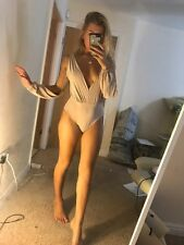 EX Pretty Little Thing Nude Cut Out Sleeve Plunge Thong Bodysuit Body NEW BNWT