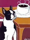 BOSTON TERRIER Coffee Dog art PRINT of Painting by VERN