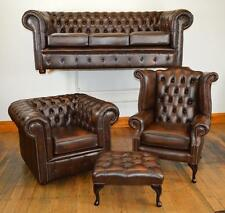 Chesterfield leather suite chair sofa B/NEW 3 colours handmade in Lancashire