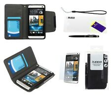 LEATHER WALLET CASE COVER WITH SCREEN PROTECTOR & STYLUS PEN FOR HTC ONE M7