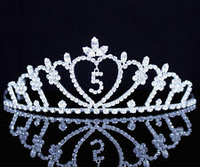 Five-Year-Old Rhinestone Tiara Crown W/ Hair Combs Girl 5th Birthday Party T816