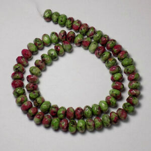 """8x5mm GENUINE RUBY in ZOISITE FACETED RONDELLE 15"""" LONG LOOSE STRAND 74 Beads"""
