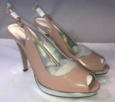 NIB Women's Delicious Freely Open Toe Mauve Patent Silver High Heel Sandals 8.5