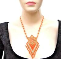 NEW ORANGE GOLD NATIVE STYLE BEADED FASHION HANDMADE NECKLACE N20/10