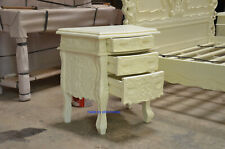 2 x CREAM finish colour French style Rococo bedside tables, nightstand cabinets