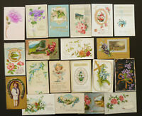 Vintage Greeting Postcards Lot o 20 Cards Birthday Wishes Embossed Early 1900s