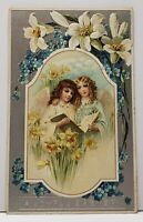Joyful Easter Precious Angels and Lilies Embossed Silvertone Postcard G1
