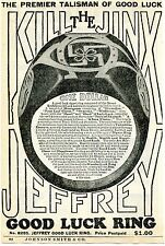 1936 small Print Ad of Jeffrey Good Luck Ring Horseshoe & Swastika Kill The  00006000 Jinx