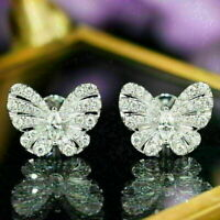 2.50Ct Round Cut Diamond Butterfly Stud Earrings 14K White Gold Finish For Her