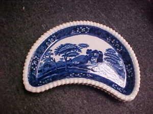 Spode Tower Blue (Older) Crescent Salad Plates (Set Of 2)