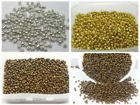 5000 Glass Seed Beads 2mm (10/0) + Storage Box Metallic SIlver Gold Bronze Color