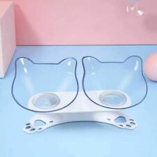 Elevated Bowls Cats Double Bowls Raised Stand Cat Feeding Dog Puppy Feeder Pet