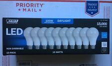 FEIT 100 Bulbs LED 100 Watts Replacement uses 15W Daylight E26 5000K 1600 Lumens