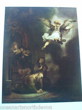 ANTIQUE PRINT C1950S REMBRANDT THE ANGEL LEAVING TOBIAS AND HIS FAMILY ART