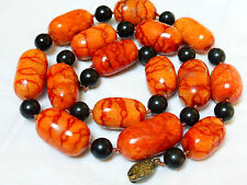 "VINTAGE CHINESE LARGE APPLE CORAL 17mm-32mm BEAD NECKLACE, 24"" LONG, 118 GRAMS"