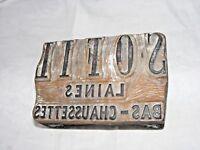 Francés Antiguo Publicidad Lana Tallada Estampado Tipografía Block 'Chaussettes'