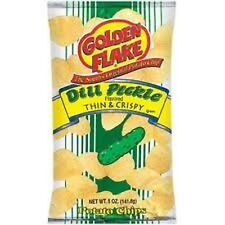 Golden Flake Dill Pickle Chips-(6) Six 5 oz. bags