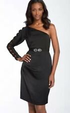 new RRP $268 BCBG MAX AZRIA BLACK ONE SHOULDER DRESS L 14