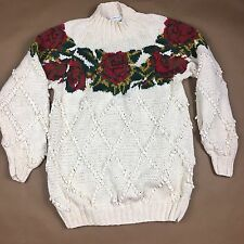 Womens Sz L Floral Sweater Chunky Thick Pullover Hand knit Grunge 90s Red Roses