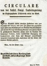 Alter Druck Circulare Rundschreiben Wien 1790 Auersperg Landmarschall von Mettin