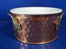 Teleflora Copper Footed Handled Holder & Stoneware Ovenware Casserole Dish