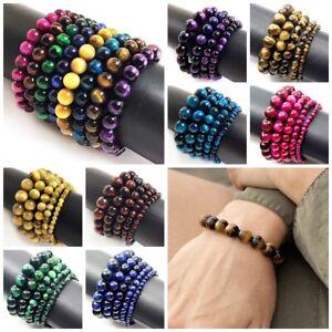 "Handmade TigerEye Stretch Bracelet 7.5"" Reiki Healing Balance Blue,Pink,Red,Gold"