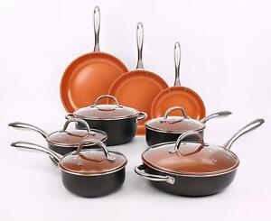 Copper 13 Pcs Non Stick Induction Cookware Set Fry Pan Cooking Pot Saucepan Lid