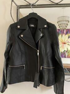 £650 KARL LAGERFELD CLASSIC BIKER 100% Lambskin LEATHER Jacket UK 10 /IT42  /US6