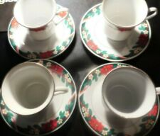 TIENSHAN FINE CHINA CHRISTMAS 8 PIECE COFFEE SAUCERS AND COFFEE CUPS!DD595QXX