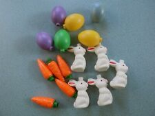 Vtg Blow Mold Patio Party String Lights-16 Easter Bunny, Rabbits, Eggs, Carrots