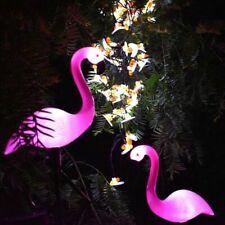 Solar Powered Pink Flamingo Ornament Garden Outdoor Light Lawn Landscape Lamp