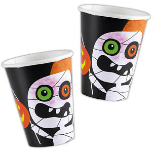 8 Happy Halloween Party Friendly Mummy Disposable 266ml Paper Cups