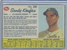 1962 Post Cereal Canadian #109 Sandy Koufax Los Angeles Dodgers