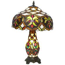 Tiffany Cristal 2 Vías Lámpara de Mesa Bombilla en Sombra y Base Art Déco Estilo