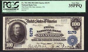 $100 1902 PB The Frost National Bank of San Antonio, Texas CH 5179 PCGS 35 PPQ