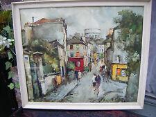 Francois Claver French Street Scene Vintage Print -Montmartre Sacre Coeur, Paris