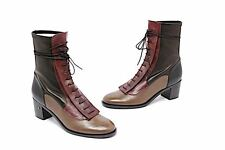 LAURENCE DACADE Tri-color Soft Leather Lace Up Riding Boots - NWOB French 42/11